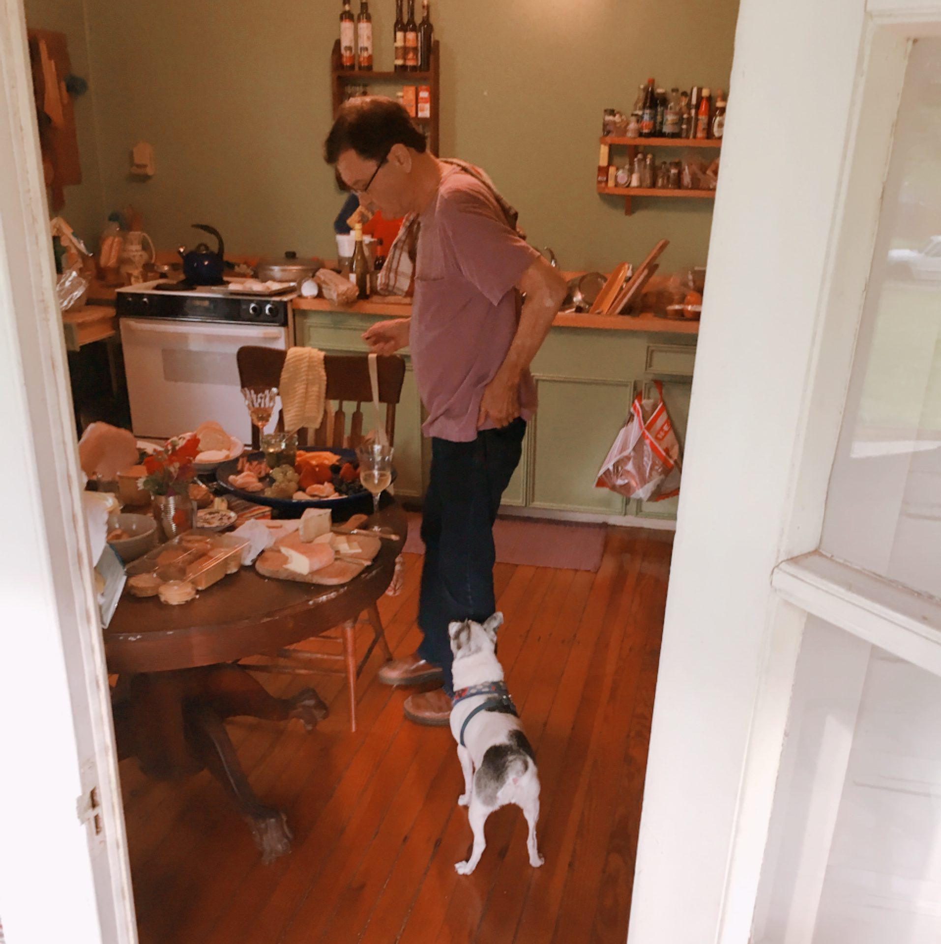Izzy, Deanna's dog, was pretty sure that Hightower would drop some cheese for her